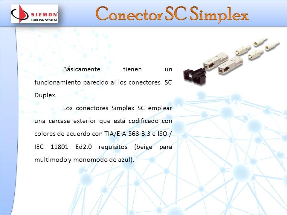 Conector SC Simplex Básicamente tienen un funcionamiento parecido al los conectores SC Duplex.