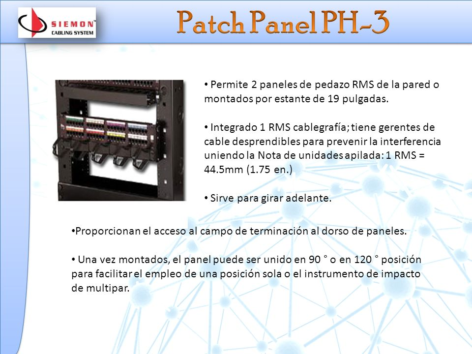 Patch Panel PH-3 Permite 2 paneles de pedazo RMS de la pared o montados por estante de 19 pulgadas.