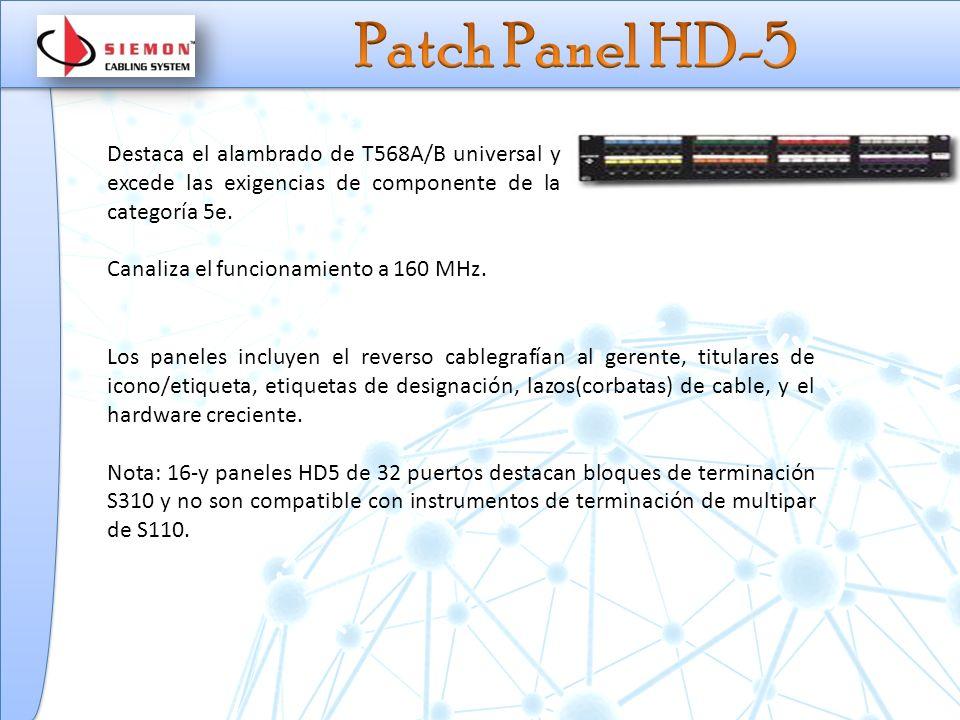 Patch Panel HD-5 Destaca el alambrado de T568A/B universal y excede las exigencias de componente de la categoría 5e.