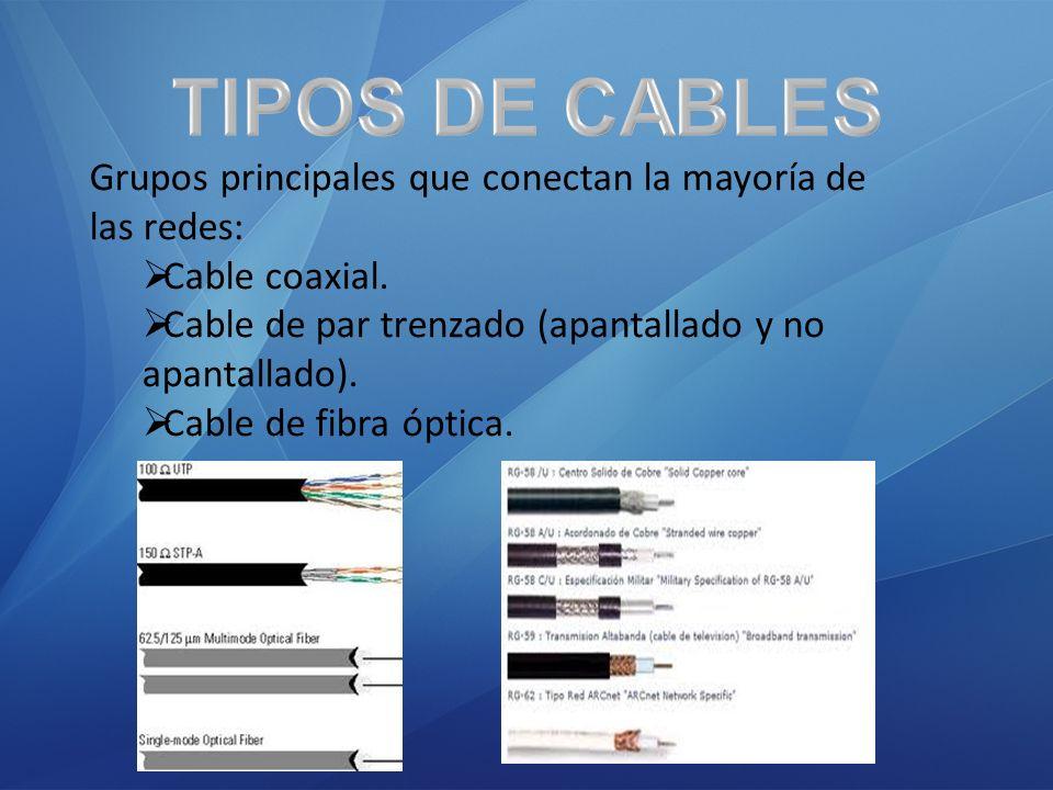 TIPOS DE CABLES Grupos principales que conectan la mayoría de las redes: Cable coaxial. Cable de par trenzado (apantallado y no apantallado).