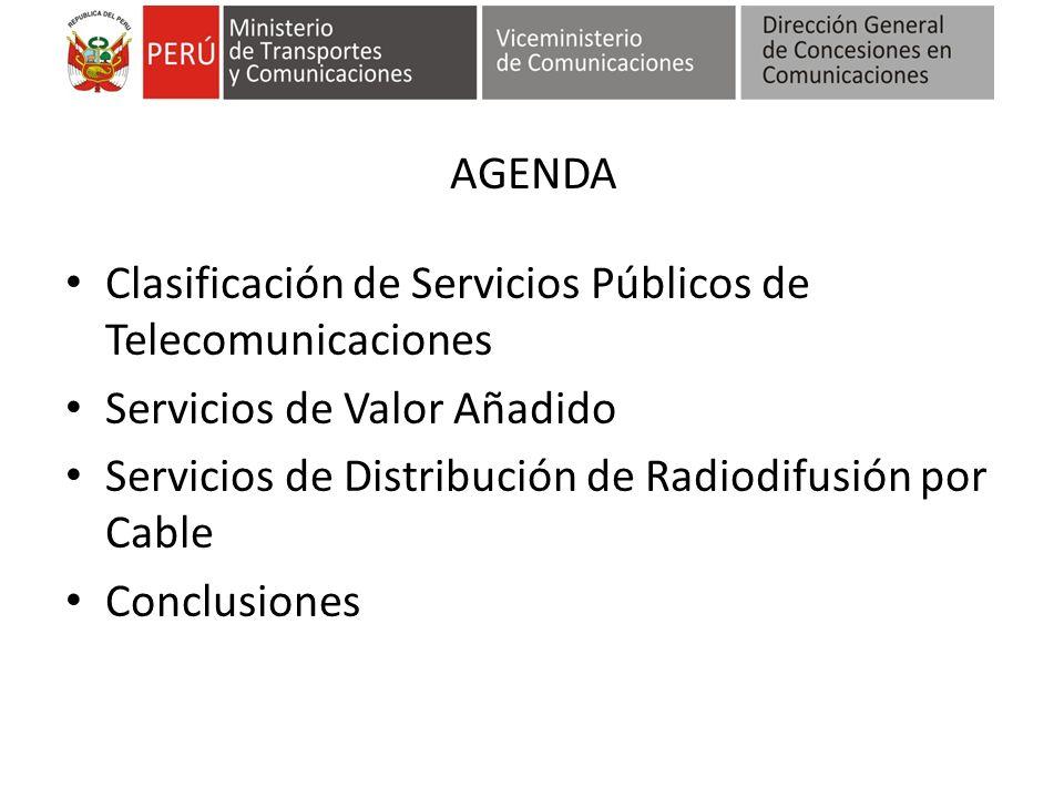 AGENDA Clasificación de Servicios Públicos de Telecomunicaciones. Servicios de Valor Añadido. Servicios de Distribución de Radiodifusión por Cable.