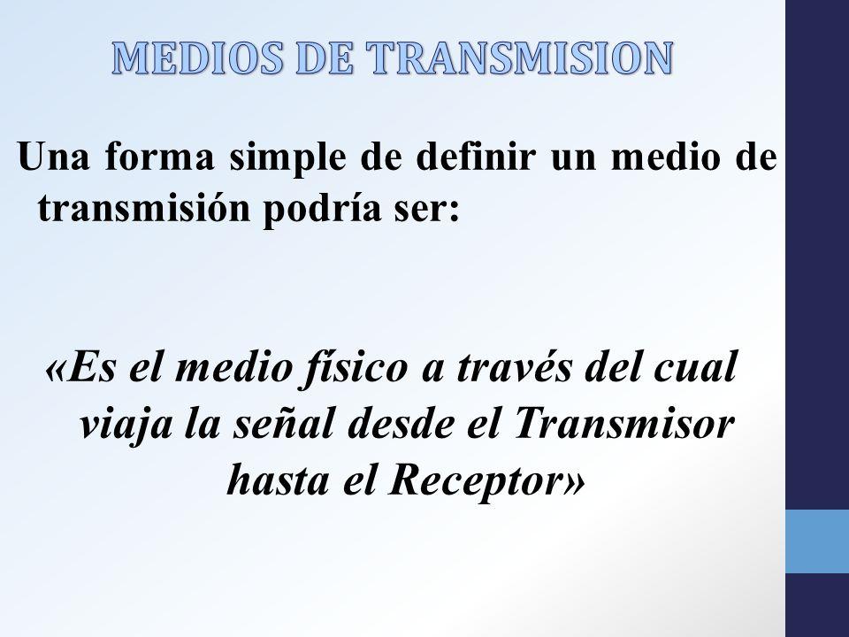 MEDIOS DE TRANSMISION Una forma simple de definir un medio de transmisión podría ser: