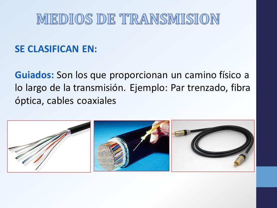 MEDIOS DE TRANSMISION Se clasifican en: