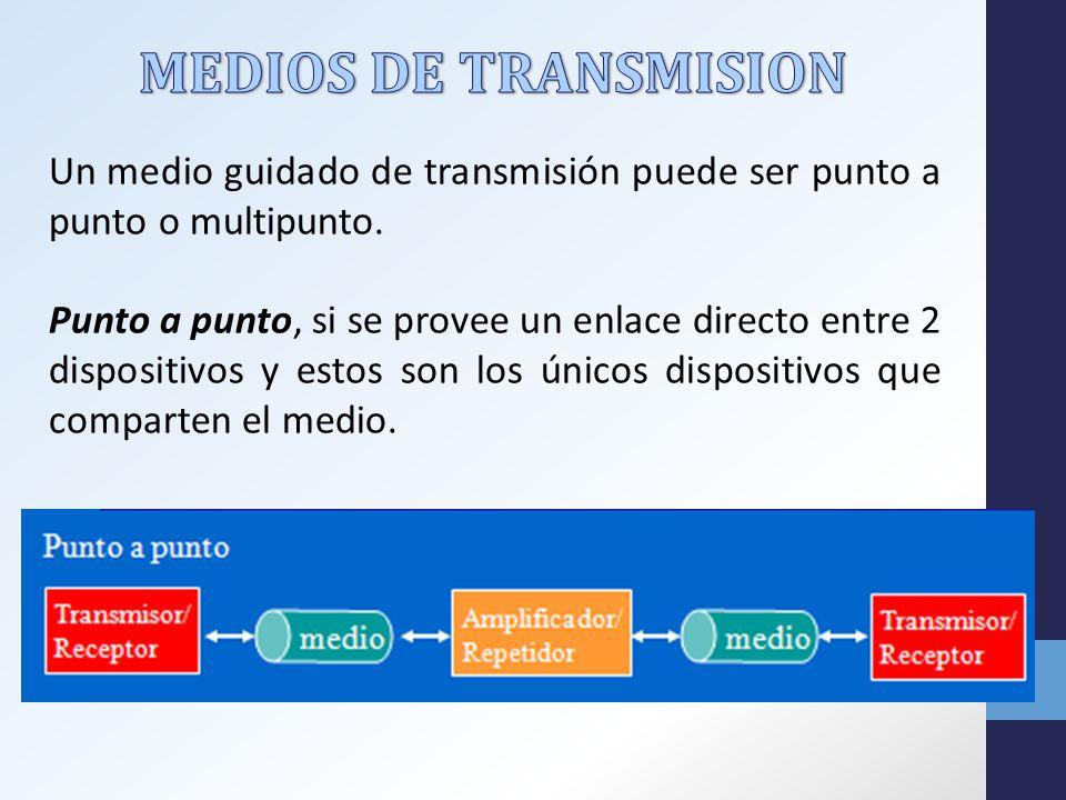 MEDIOS DE TRANSMISION Un medio guidado de transmisión puede ser punto a punto o multipunto.