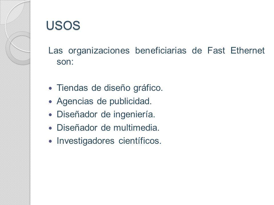 USOS Las organizaciones beneficiarias de Fast Ethernet son: