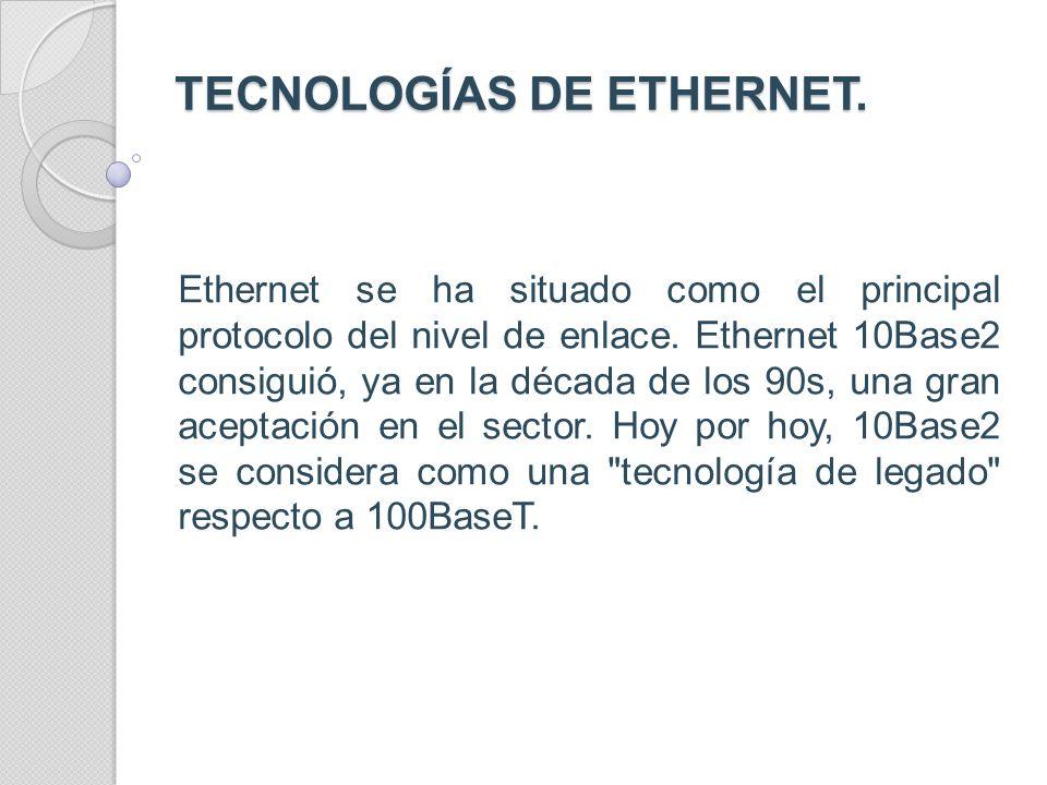 TECNOLOGÍAS DE ETHERNET.
