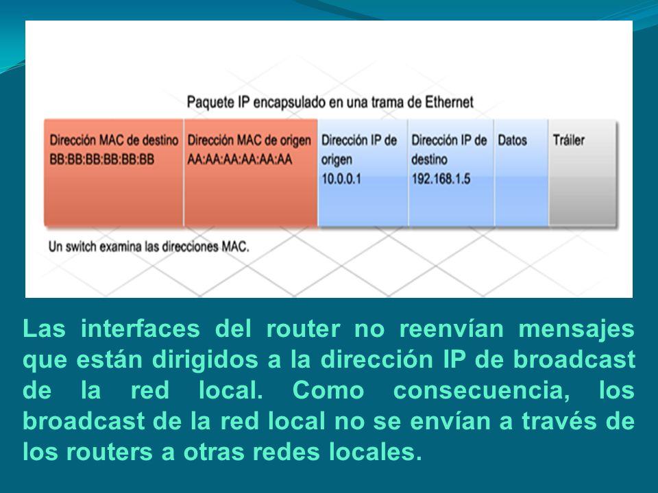 Las interfaces del router no reenvían mensajes que están dirigidos a la dirección IP de broadcast de la red local.