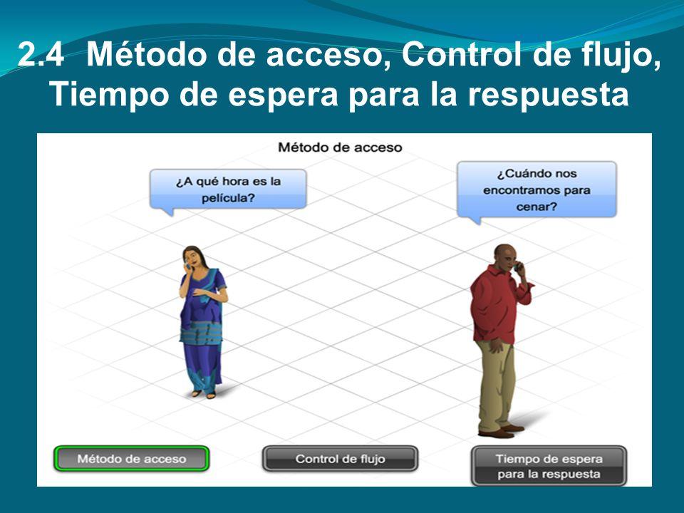 2.4 Método de acceso, Control de flujo, Tiempo de espera para la respuesta