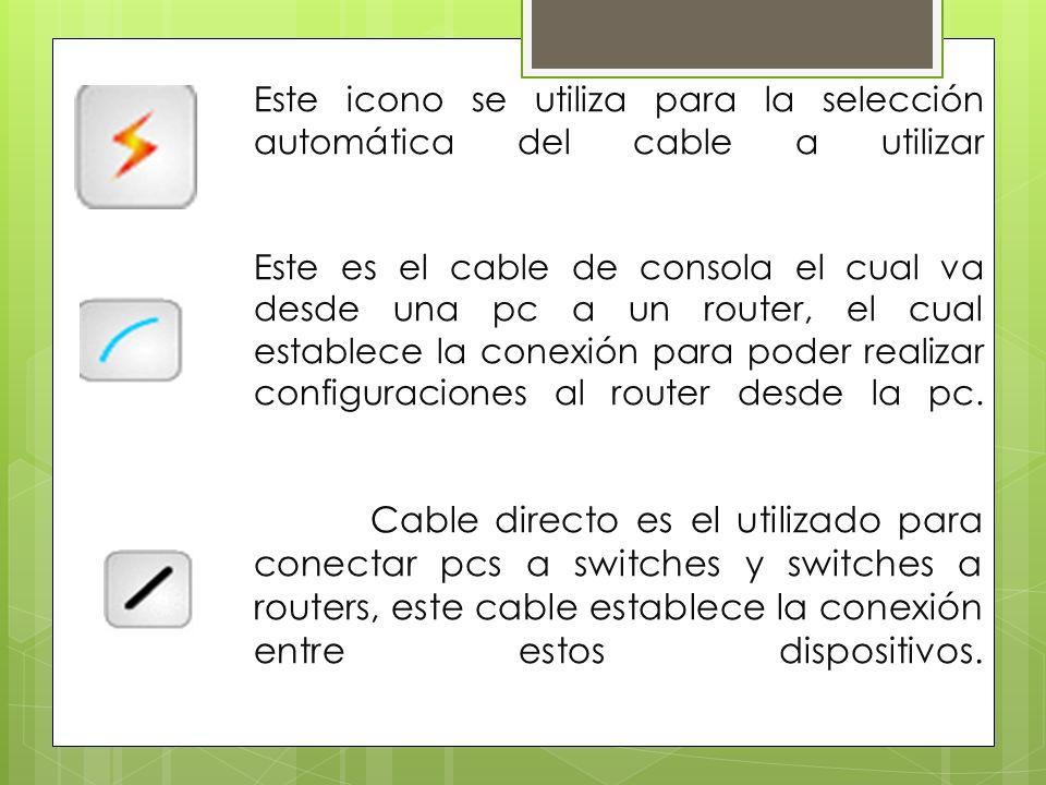 Este icono se utiliza para la selección automática del cable a utilizar Este es el cable de consola el cual va desde una pc a un router, el cual establece la conexión para poder realizar configuraciones al router desde la pc.
