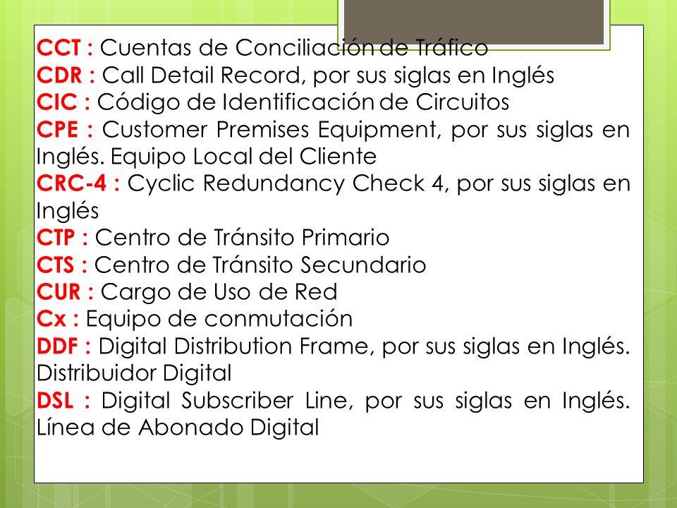 CCT : Cuentas de Conciliación de Tráfico