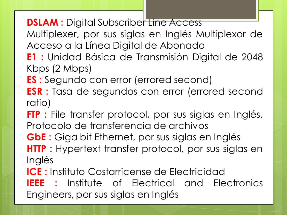 DSLAM : Digital Subscriber Line Access