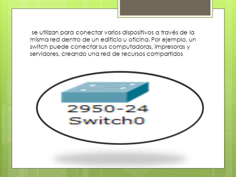 se utilizan para conectar varios dispositivos a través de la misma red dentro de un edificio u oficina.