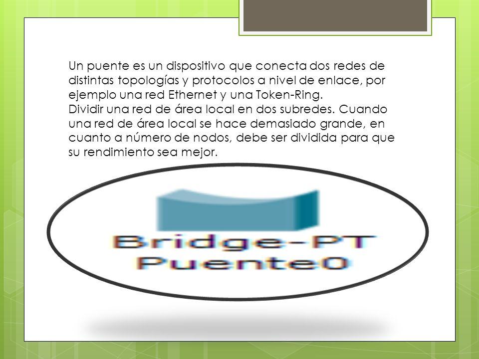 Un puente es un dispositivo que conecta dos redes de distintas topologías y protocolos a nivel de enlace, por ejemplo una red Ethernet y una Token-Ring.