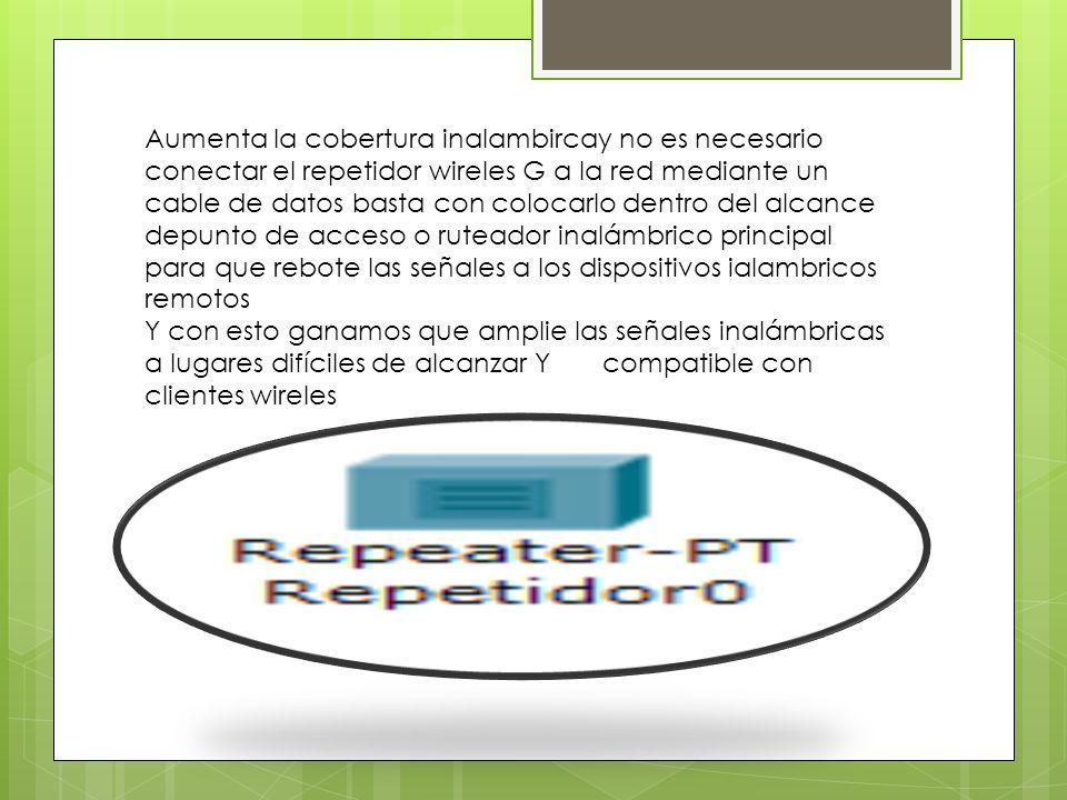 Aumenta la cobertura inalambircay no es necesario conectar el repetidor wireles G a la red mediante un cable de datos basta con colocarlo dentro del alcance depunto de acceso o ruteador inalámbrico principal para que rebote las señales a los dispositivos ialambricos remotos