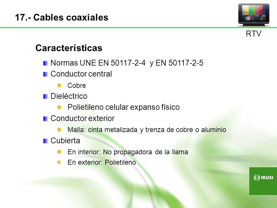 17.- Cables coaxiales Características RTV