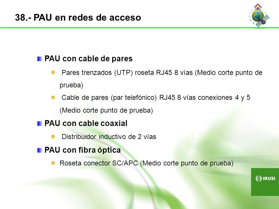 38.- PAU en redes de acceso PAU con cable de pares