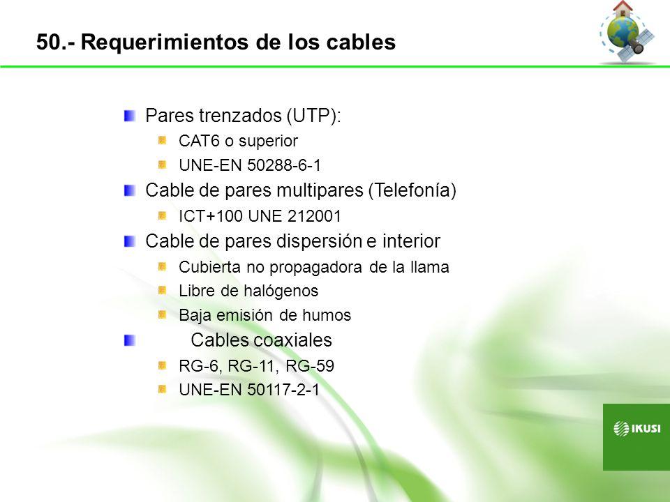 50.- Requerimientos de los cables