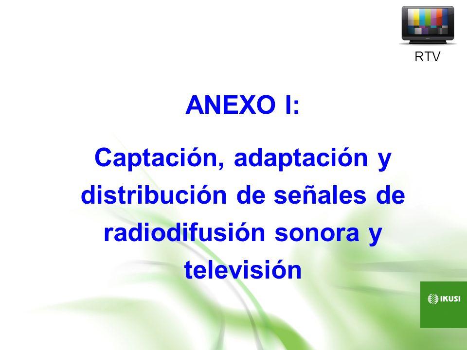 RTV ANEXO I: Captación, adaptación y distribución de señales de radiodifusión sonora y televisión