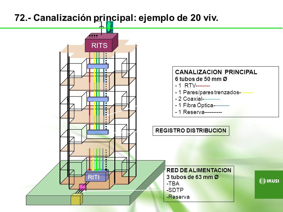 72.- Canalización principal: ejemplo de 20 viv.