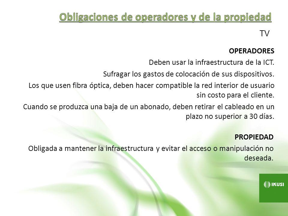Obligaciones de operadores y de la propiedad