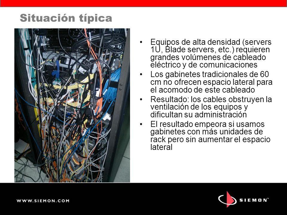 Situación típica Equipos de alta densidad (servers 1U, Blade servers, etc.) requieren grandes volúmenes de cableado eléctrico y de comunicaciones.
