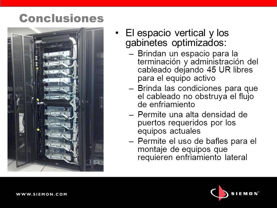 Conclusiones El espacio vertical y los gabinetes optimizados: