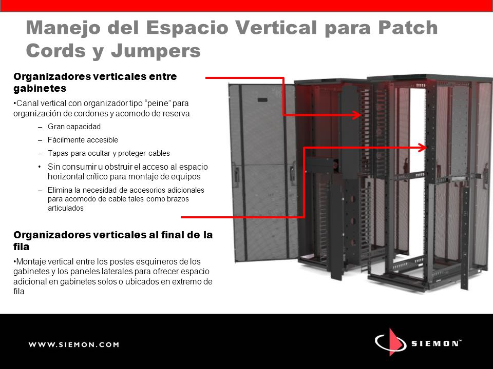 Manejo del Espacio Vertical para Patch Cords y Jumpers