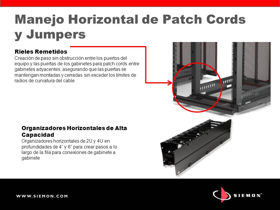 Manejo Horizontal de Patch Cords y Jumpers