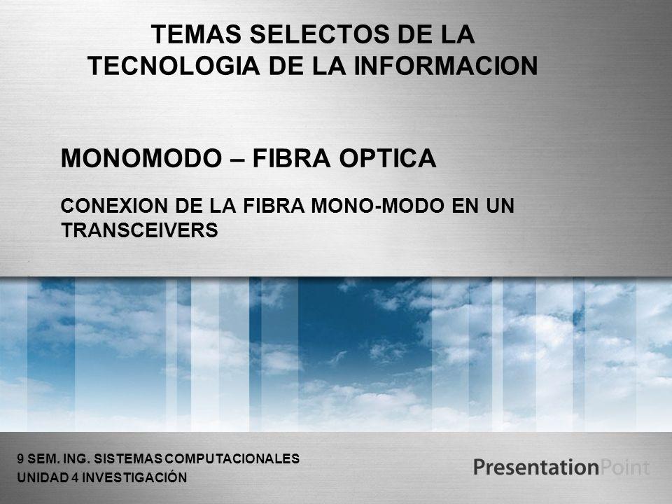 MONOMODO – FIBRA OPTICA