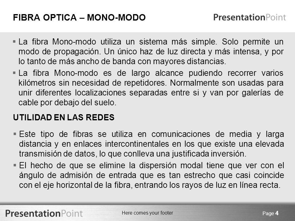 FIBRA OPTICA – MONO-MODO