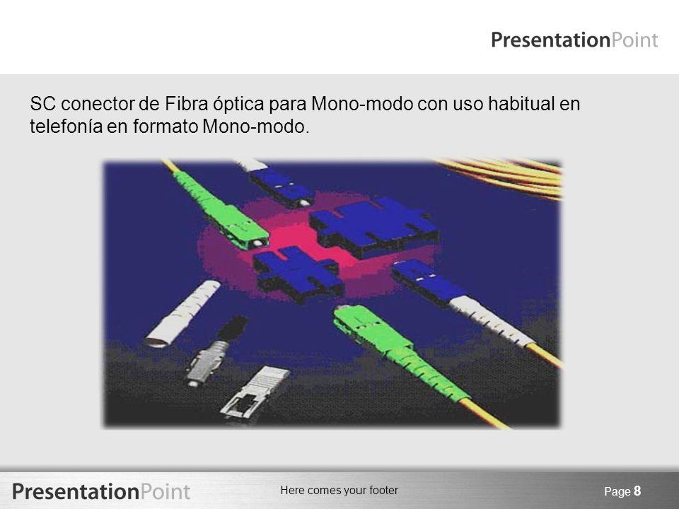 SC conector de Fibra óptica para Mono-modo con uso habitual en telefonía en formato Mono-modo.