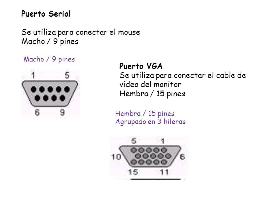 Se utiliza para conectar el mouse Macho / 9 pines