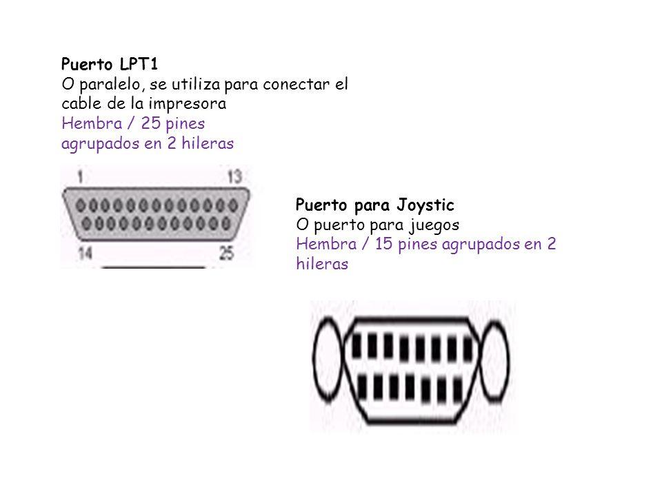 Puerto LPT1 O paralelo, se utiliza para conectar el cable de la impresora