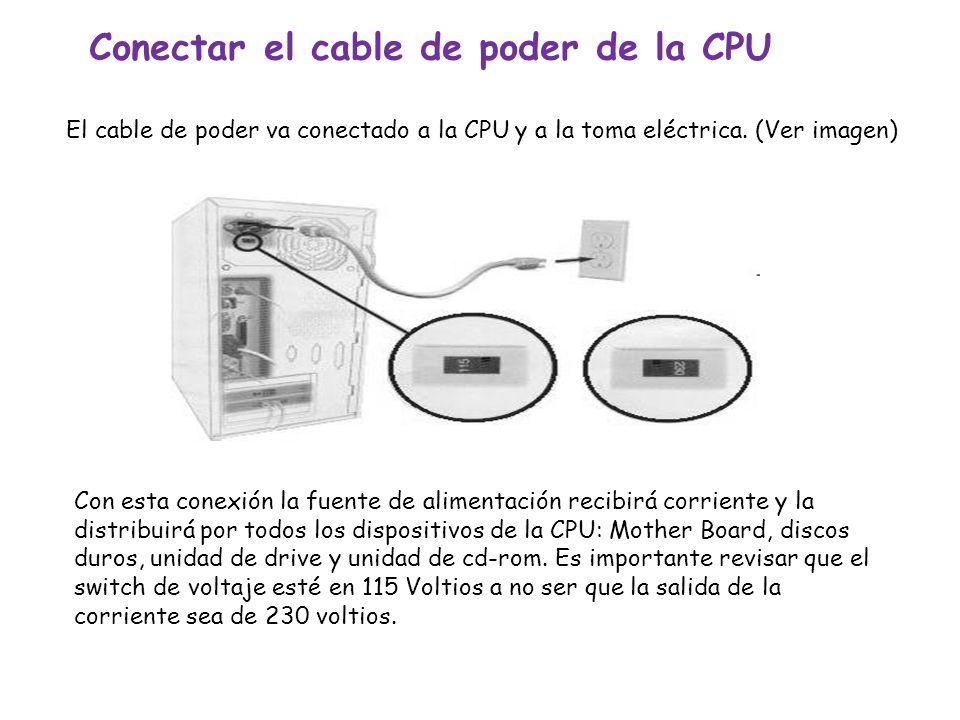 Conectar el cable de poder de la CPU