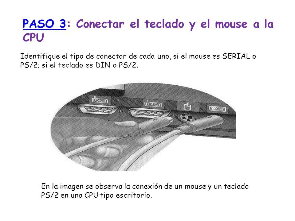 PASO 3: Conectar el teclado y el mouse a la CPU