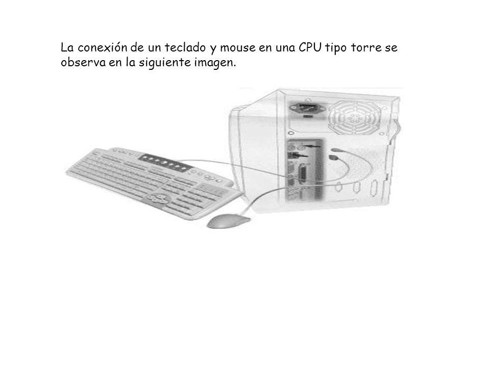 La conexión de un teclado y mouse en una CPU tipo torre se observa en la siguiente imagen.