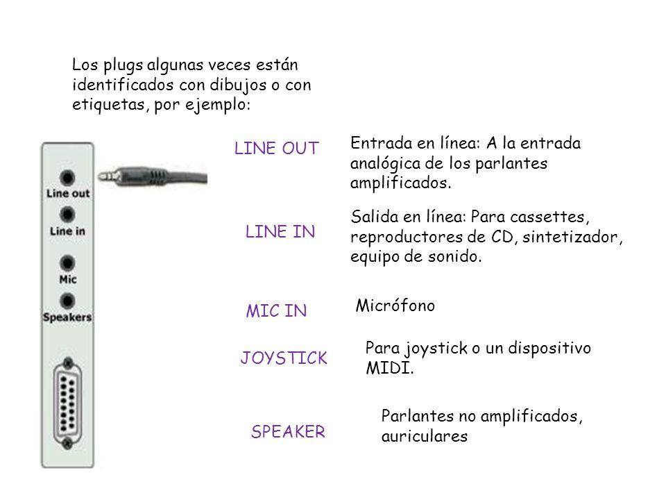 Los plugs algunas veces están identificados con dibujos o con etiquetas, por ejemplo: