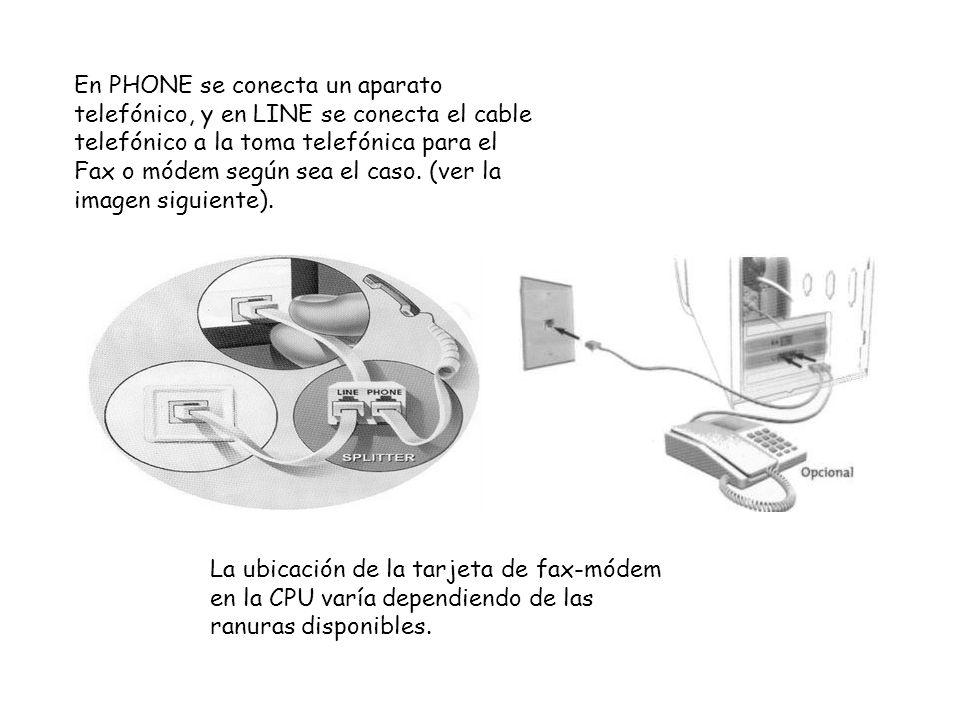 En PHONE se conecta un aparato telefónico, y en LINE se conecta el cable telefónico a la toma telefónica para el Fax o módem según sea el caso. (ver la imagen siguiente).