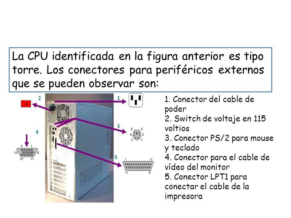 PASO 2: Identificar en la CPU los diferentes tipos de conectores