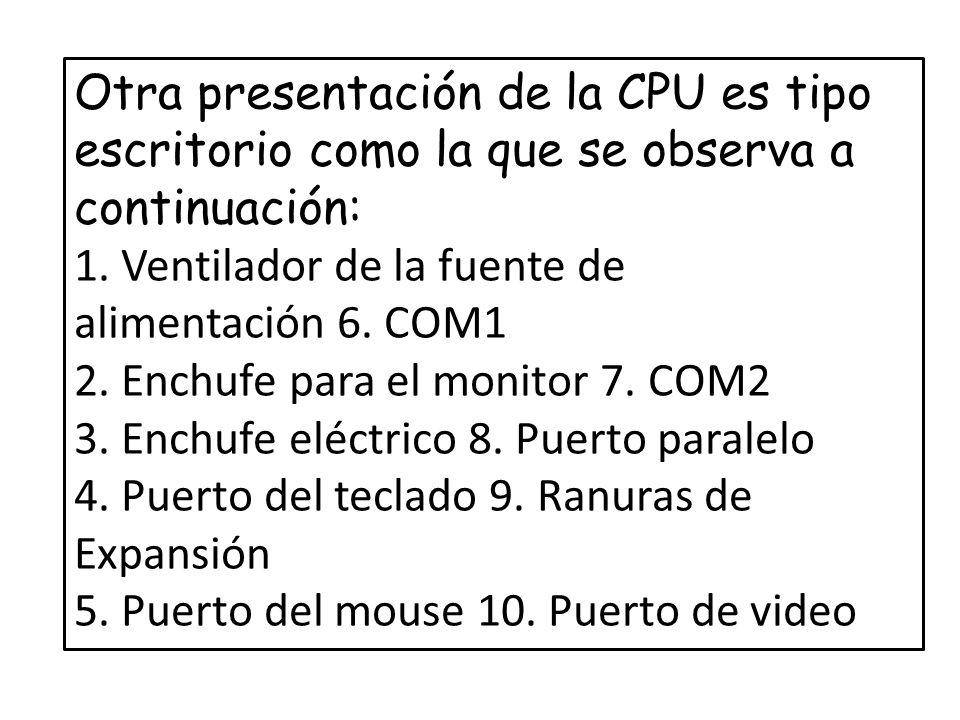 Otra presentación de la CPU es tipo escritorio como la que se observa a continuación: