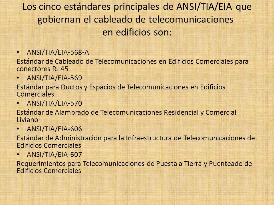 Los cinco estándares principales de ANSI/TIA/EIA que gobiernan el cableado de telecomunicaciones en edificios son: