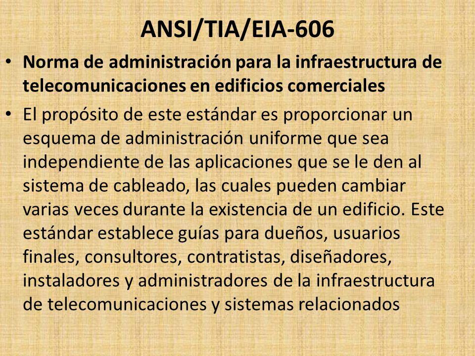 ANSI/TIA/EIA-606 Norma de administración para la infraestructura de telecomunicaciones en edificios comerciales.