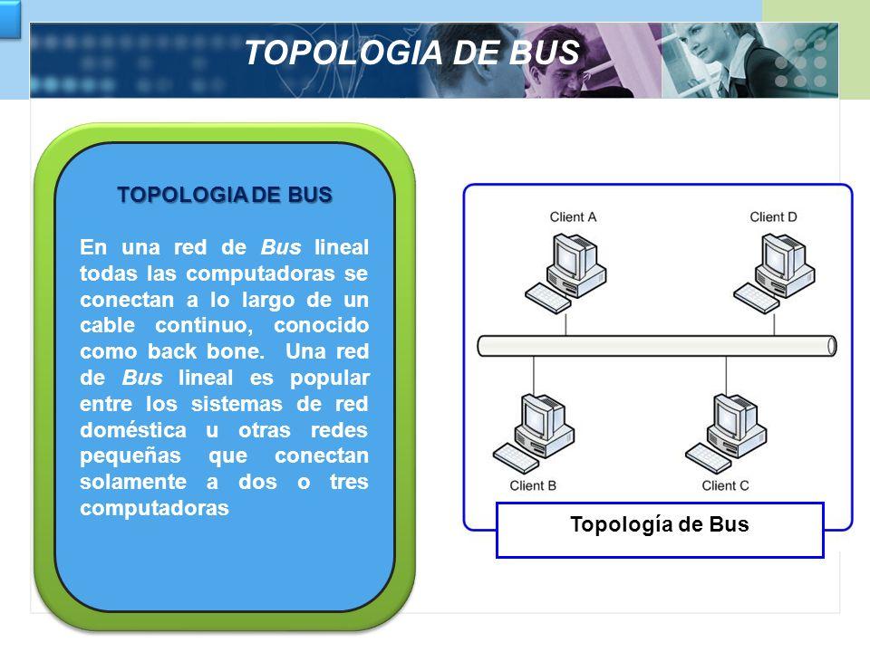 TOPOLOGIA DE BUS TOPOLOGIA DE BUS