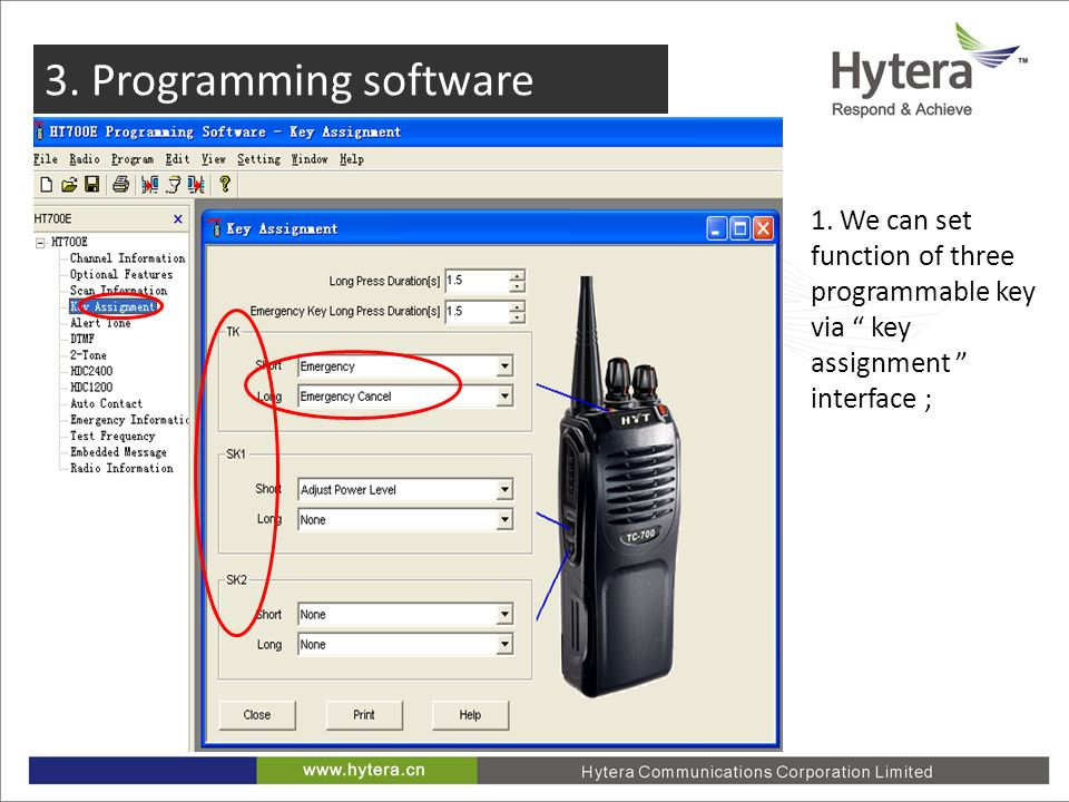 1. We can set function of three programmable key via key assignment interface ;