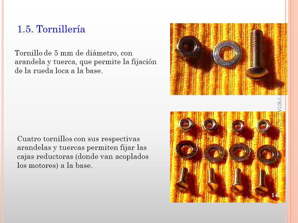 1.5. Tornillería Tornillo de 5 mm de diámetro, con arandela y tuerca, que permite la fijación de la rueda loca a la base.