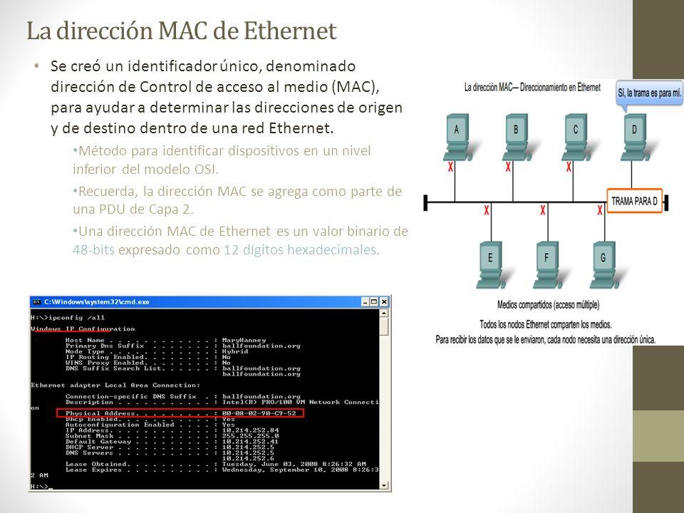 La dirección MAC de Ethernet