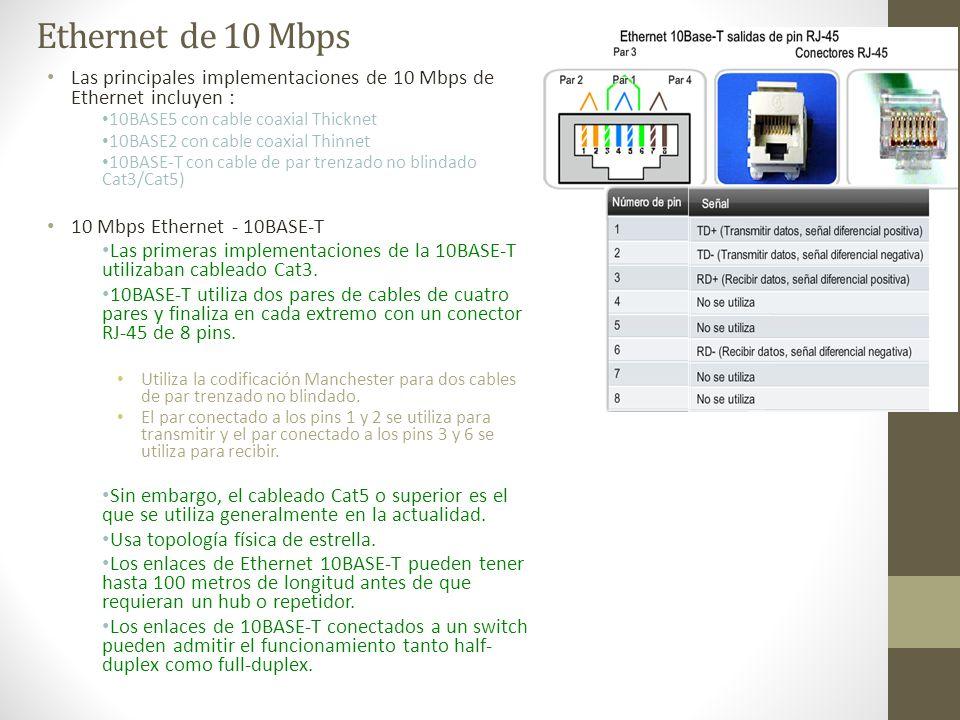 Ethernet de 10 Mbps Las principales implementaciones de 10 Mbps de Ethernet incluyen : 10BASE5 con cable coaxial Thicknet.
