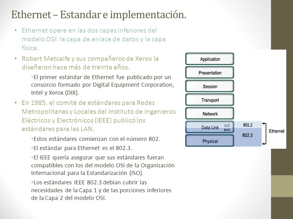 Ethernet – Estandar e implementación.
