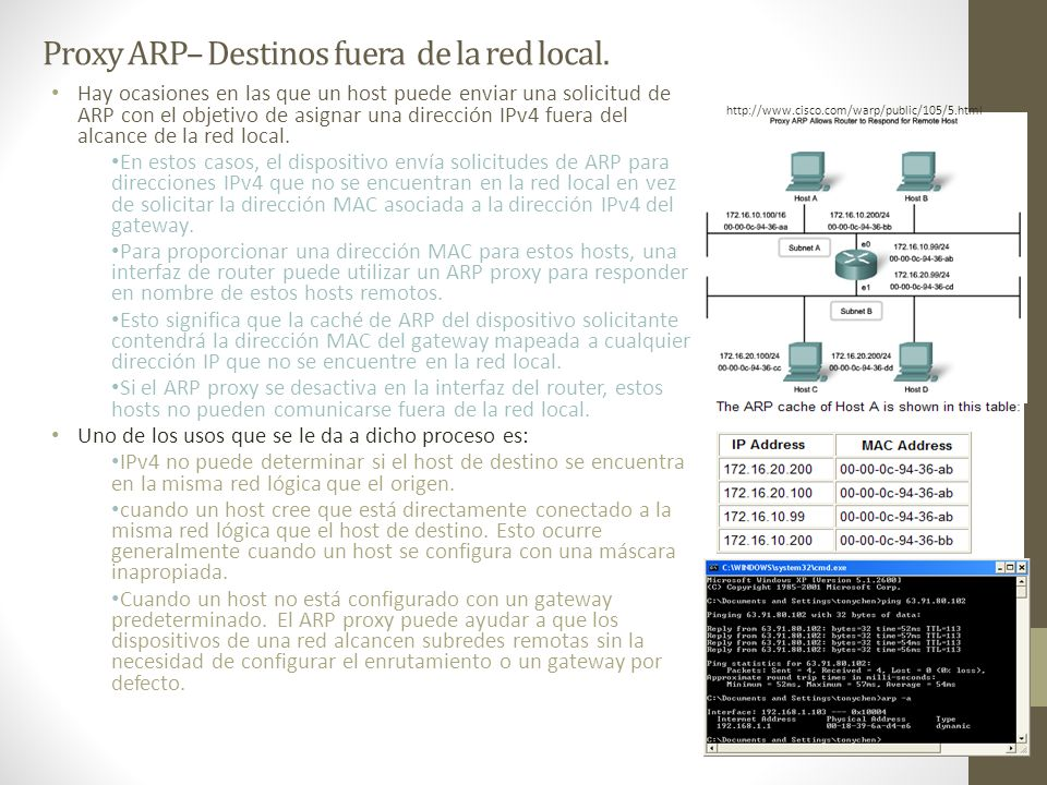 Proxy ARP– Destinos fuera de la red local.