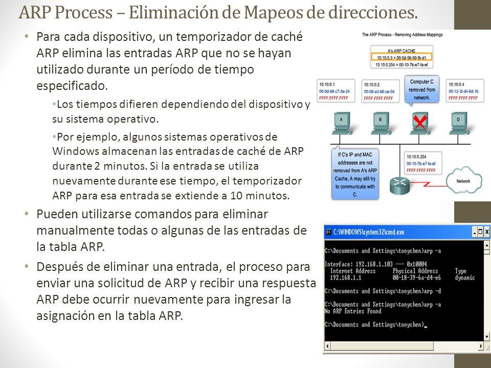 ARP Process – Eliminación de Mapeos de direcciones.